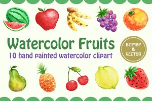 Watercolor Fruits  - Vector & PNG