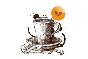 Two hand drawn coffee illustration