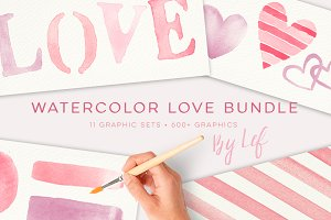 Watercolor love hearts graphics