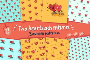 7 Seamless Patterns «Two Hearts»