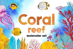 Coral reef - watercolor set