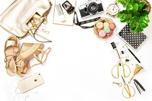 Fashion flat lay bag shoes IPhone