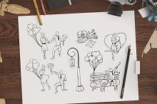 Hand drawn romantic illustration set