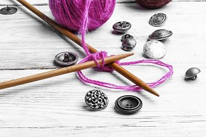 Close-up knitting needles