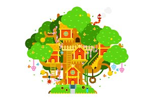 Treehouse vector flat illustration