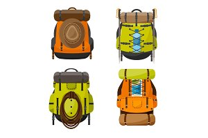 Backpack in a flat style. Vector illustration. School bag.Travel, camping or hiking. Tourism. Luggage.