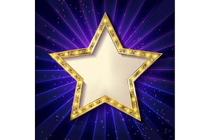 6 Gold stars on a dark background