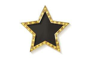 3 Golden stars on white background
