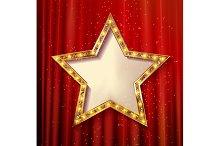 5 Blank golden stars on curtain