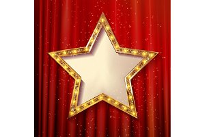 5 Blank golden stars on curtain