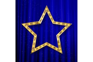 5 Transparent golden star on curtain