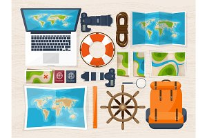 Travel and tourism. Flat style. World, earth map. Globe. Trip, tour, journey, summer holidays. Travelling,exploring worldwide. Adventure,expedition. Table, workplace. Traveler. Navigation or route planning.