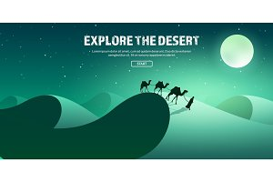 Desert trip. Extreme tourism and travelling. Back to nature. Sands.Exploring Africa. Horizont line with sky,stars.Camels.
