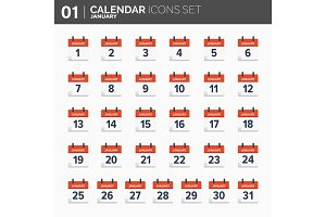 Vector illustration. Calendar icons set.  Date and time.  January.