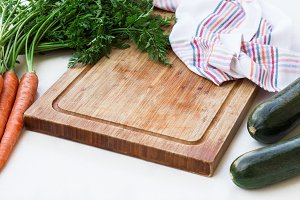 Organic fresh vegetables and cutting board