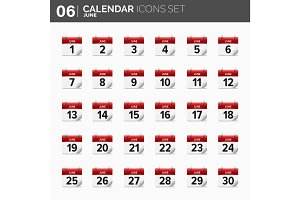 Vector illustration. Calendar icons set.  Date and time.  June.