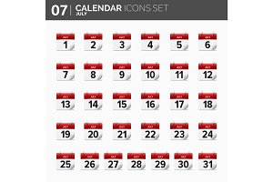 Vector illustration. Calendar icons set.  Date and time.  July.
