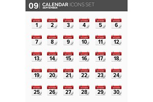 Vector illustration. Calendar icons set.  Date and time.  September.