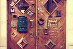 Doors decorated with picture frames
