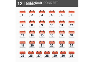 Vector illustration. Calendar icons set.  Date and time.  December.