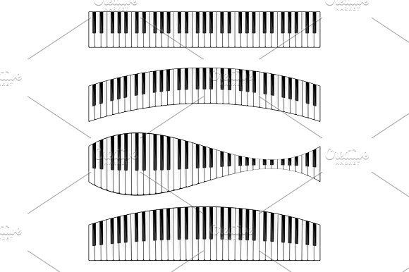 Vector Illustration Musical Flat Background Piano Key Keyboard Melody Instrument
