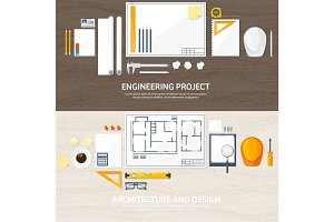 Vector illustration. Engineering and architecture. Drawing, construction.  Architectural project. Design, sketching. Workspace with tools. Planning, building. Wood background.