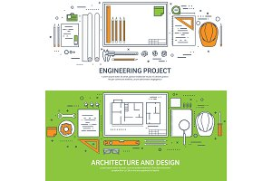 Lined, outline.Vector illustration. Engineering and architecture. Drawing, construction. Architectural project. Design, sketching. Workspace with tools. Planning, building.