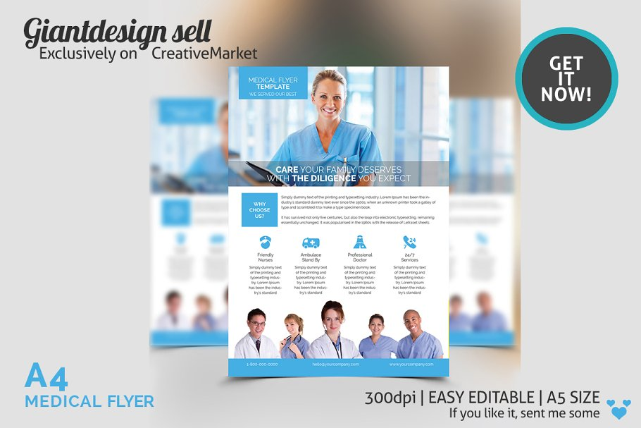 A4 Medical Flyer Template Flyer Templates Creative Market