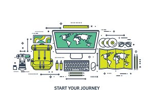 Travel and tourism. Flat style. World, earth map. Globe. Trip, tour, journey, summer holidays. Travelling,exploring worldwide. Adventure,expedition. Table, workplace. Traveler. Navigation or route planning.Line art.