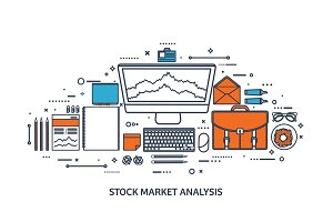 Vector illustration. Flat background. Market trade. Trading platform ,account. Moneymaking,business. Analysis. Investing.Line art.