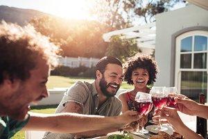 Friends enjoying a outdoor party