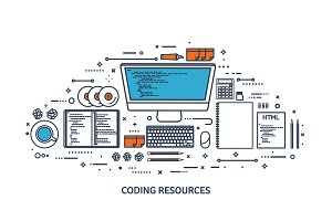 Programming,coding. Flat computing background. Code, hardware,software. Web development. Search engine optimization. Innovation,technologies. Mobile app. Vector illustration. SEO.Line art.