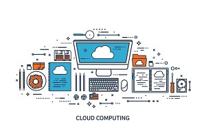 Vector illustration. Workplace, table with documents, computer. Flat cloud computing background. Media, data server. Web storage.CD. Paper blank. Digital technologies. Internet connection.Line art.