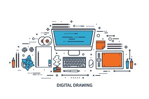 Graphic web design. Drawing and painting. Development. Illustration, sketching, freelance. User interface. UI. Computer, laptop.Line art.