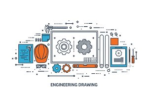 Vector illustration. Engineering and architecture. Drawing, construction. Architectural project. Design, sketching. Workspace with tools. Planning, building.Line art.