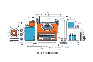 Vector illustration. Flat typewriter.Laptop. Tell your story. Author. Blogging.Line art.
