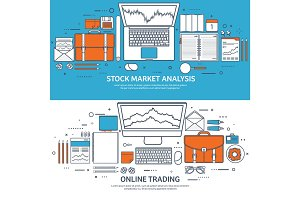 Vector illustration. Flat background. Market trade. Trading platform ,account. Moneymaking,business. Analysis. Investing.Line art.Lined.