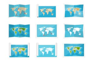 World map in a flat style. Earth, globe. Navigation. Route and destination. Icon.