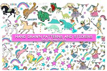 Hand drawn cute stickers, patterns.