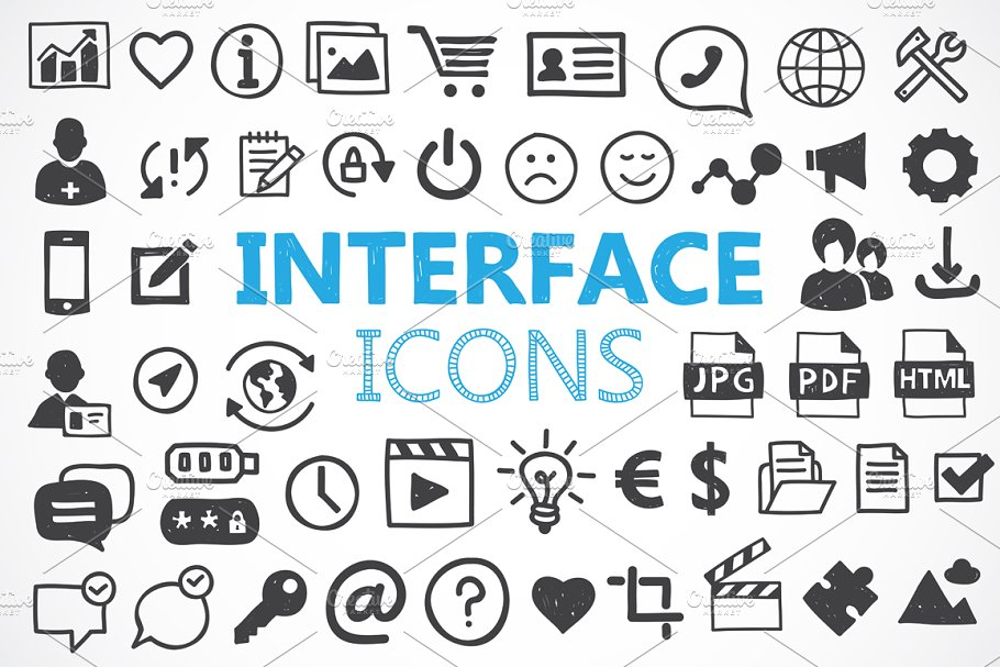 140 hand drawn interface icons