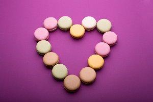 Heart shape made of macaron dessert