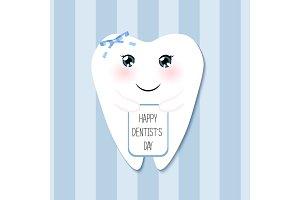 Cute greeting card Happy Dentist Day