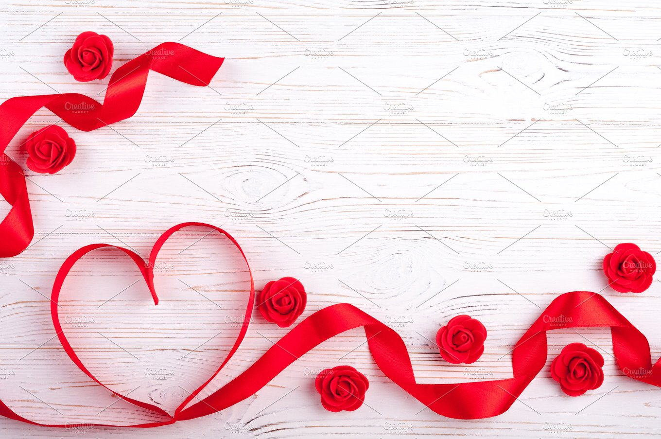 Valentines background with red heart holiday photos creative market - Background for valentine pictures ...
