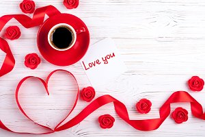 Red heart and coffee cup