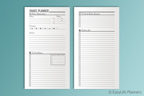 Travel Planner Personal Size KIT ~ Stationery Templates ~ Creative ...