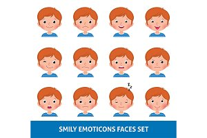 Boy and girl emoji set smily