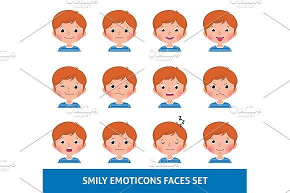 Boy And Girl Emoji Set Smily