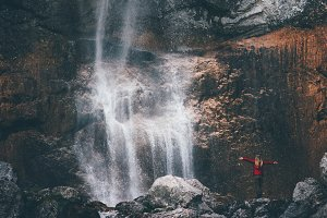 Waterfall Landscape and Traveler