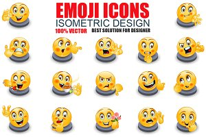 Isometric Emoticon Emoji Set