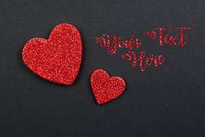 Red Glitter Hearts for Valentines Da